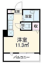 MELDIA津田沼 3階ワンルームの間取り