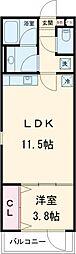 クリフビレッジG棟 2階1LDKの間取り