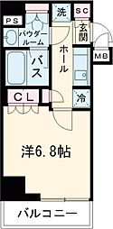 新交通ゆりかもめ 日の出駅 徒歩9分の賃貸マンション 13階1Kの間取り