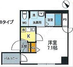 JR山手線 西日暮里駅 徒歩12分の賃貸マンション 6階1Kの間取り