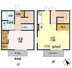 メゾン・ド・サンセール11番館 1階1LDKの間取り