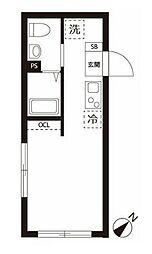東急目黒線 不動前駅 徒歩7分の賃貸マンション 1階ワンルームの間取り