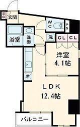 プラウドフラット西早稲田 2階1LDKの間取り