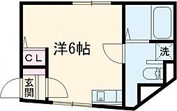 リトルシャトーナガクラ 1階ワンルームの間取り