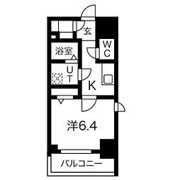 エスリード名古屋STATION WEST 8階1Kの間取り