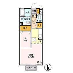 JR東北本線 宇都宮駅 バス30分 長岡街道入口下車 徒歩8分の賃貸アパート 1階ワンルームの間取り