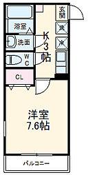 ハーミットクラブハウス武蔵中原 3階1Kの間取り