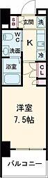 AZESTお花茶屋II 9階1Kの間取り