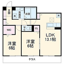 アグレイド北桜塚 1階2LDKの間取り