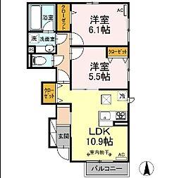 (仮)D-room鹿沼 A 1階2LDKの間取り