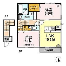 (仮)D-room鹿沼 B 2階2LDKの間取り