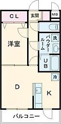 エルプレイス文京大塚 1階1DKの間取り