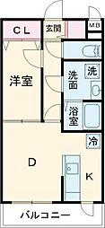 エルプレイス文京大塚 2階1DKの間取り