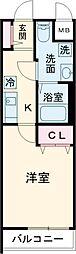 エルプレイス文京大塚 2階1Kの間取り