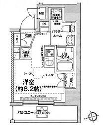 都営浅草線 戸越駅 徒歩6分の賃貸マンション 8階ワンルームの間取り