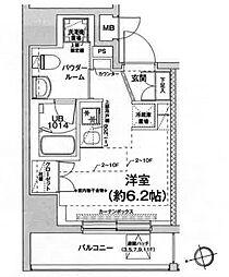 都営浅草線 戸越駅 徒歩6分の賃貸マンション 9階ワンルームの間取り