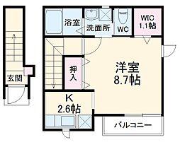 金沢シーサイドライン 八景島駅 徒歩12分の賃貸アパート 2階1Kの間取り