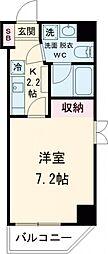 東急池上線 旗の台駅 徒歩1分の賃貸マンション 2階1Kの間取り