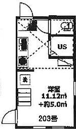 仮)アーバンプレイス高田馬場4丁目A棟 2階ワンルームの間取り