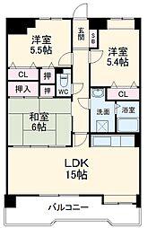 リバーランド箱崎II 5階3LDKの間取り