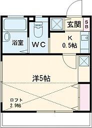 アパート・コスモ 2階1Kの間取り