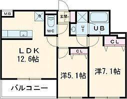 JR中央線 武蔵小金井駅 徒歩9分の賃貸マンション 3階2LDKの間取り