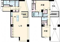 JR山手線 目黒駅 徒歩5分の賃貸マンション 21階2LDKの間取り