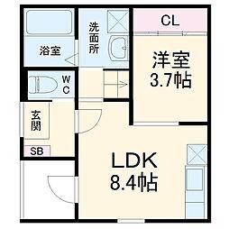 名古屋市営東山線 中村日赤駅 徒歩9分の賃貸アパート 3階1LDKの間取り
