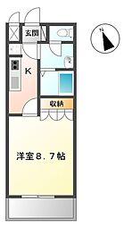 JR常磐線 水戸駅 バス22分 新原二丁目下車 徒歩2分の賃貸アパート 2階1Kの間取り