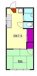 シーサイド早川 2階1DKの間取り