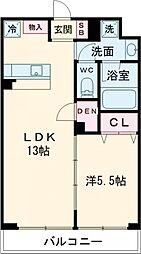 ラ・ぺルラ柿の木坂 1階1LDKの間取り