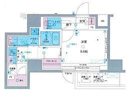 ジェノヴィア駒込駅グリーンヴェール 9階ワンルームの間取り