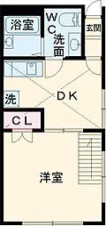 メゾン・ド・クレール 2階1DKの間取り