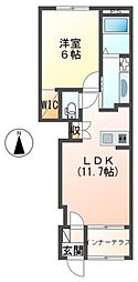 JR常磐線 ひたち野うしく駅 8.3kmの賃貸アパート 1階1LDKの間取り