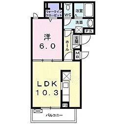 小田急小田原線 伊勢原駅 徒歩21分の賃貸アパート 2階1LDKの間取り