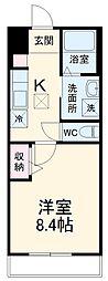 木更津市木更津2丁目新築アパート 1階1Kの間取り