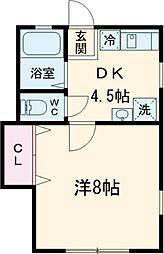 京王線 高幡不動駅 徒歩10分の賃貸アパート 2階1DKの間取り