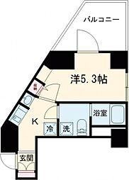 都営浅草線 戸越駅 徒歩3分の賃貸マンション 5階1Kの間取り