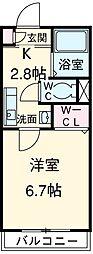 小田急江ノ島線 湘南台駅 徒歩6分の賃貸マンション 1階1Kの間取り