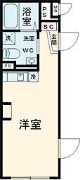 仮)北千束マンション 2階ワンルームの間取り