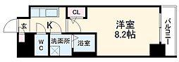 名古屋市営東山線 新栄町駅 徒歩6分の賃貸マンション 13階1Kの間取り
