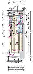 名古屋市営名城線 東別院駅 徒歩2分の賃貸マンション 8階1Kの間取り