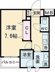 JR山手線 大崎駅 徒歩8分の賃貸マンション 1階1Kの間取り
