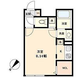 名古屋市営東山線 覚王山駅 徒歩5分の賃貸マンション 3階ワンルームの間取り