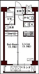 JR予讃線 高松駅 徒歩7分の賃貸マンション 2階1DKの間取り