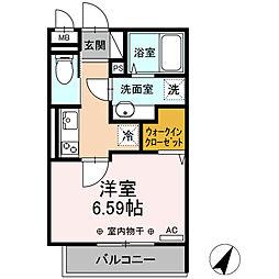 小田急小田原線 相模大野駅 徒歩11分の賃貸アパート 1階1Kの間取り