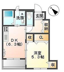 JR予讃線 宇多津駅 徒歩24分の賃貸アパート 1階1DKの間取り