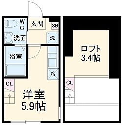 ハーミットクラブハウス日吉V A棟 2階ワンルームの間取り