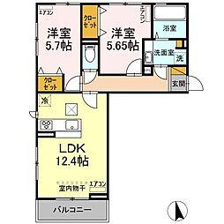 D-roomちはら台H 2階2LDKの間取り