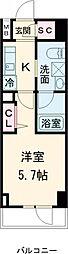 AXASレジデンス目黒東 7階1Kの間取り